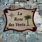 PLAQUE DE MAISON EN FAIENCE PARCHEMIN DECOR ROSE DES VENTS