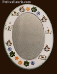 MIROIR FORME OVALE DECOR TRADITION POLY+ MARGUERITES RELIEF