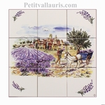 FRESQUE FAIENCE DECOR RECOLTE LAVANDE 30 X 30 + BRINS