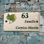 CERAMIC HOUSE PLAQUE FAIENCE ENAMELED WITH PLANE TREE PATERN