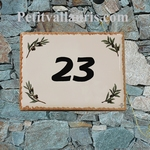 HOUSE ADDRESS PLAQUE OLIVE BRANCH DECORATION OCHER BORDER