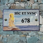 CERAMIC HOUSE PLAQUE RECTANGLE MODEL WITH NATURIST GIRL
