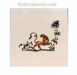 DECOR LION POLYCHROME (BLEU,OCRE,VERT)SUR CARREAU 15x15