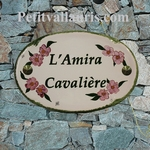 HOUSE CERAMIC ADRESS PLAQUE OVAL MODEL PINK LAURIERS FLOWERS