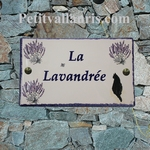 CERAMIC HOUSE PLAQUE RECTANGLE MODEL LAVENDERS AND CAT DECOR