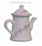 MINIATURE CAFETIERE EN FAIENCE DECOR FLEURS DE LAVANDE
