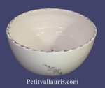 SALAD BOWL LARGE SIZE WHITE COLORWITH LAVANDER FLOWER DECOR
