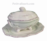 OVAL SOUP TUREEN WITH DISH WITH LAVANDER FLOWER DECOR
