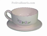 CERAMIC LARGE CUP AND UNDER CUP WITH LAVANDER FLOWER DECOR