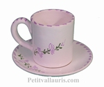 COFFEE CUP AND UNDER CUP WITH LAVANDER FLOWER COLOR