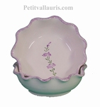 CERAMIC WHITE ROUND CUPEL DENTEL WITH LAVANDER FLOWER DECOR