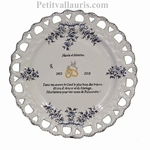 CERAMIC ROSEWOOD WEDDING PLATE SUNFLOWER MODEL WITH POEM B