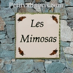 HOME NUMBER PLAQUE MIMOSAS DECORATION GREEN FIGURE COLOR