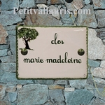 CERAMIC ENAMELLED HOUSE PLAQUE OLIVE TREE PICTURE