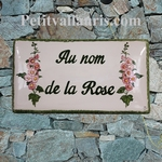 CERAMIC HOUSE PLAQUE FAIENCE ENAMELED WITH HOLLYHOCK PAINT