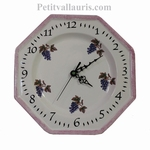 FAIENCE WALL CLOCK DECOR WITH GRAPES PATERN PARM BORDER