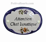 OVAL DOOR BLUE BORDER COLOR PLAQUE CUSTOMIZED INSCRIPTION