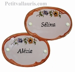 OVAL DOOR OCHER BORDER COLOR PLAQUE CUSTOMIZED INSCRIPTION