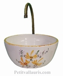 SMALL EARTHENWARE  BASIN BOWL FORM YELLOW FLOWERS DECOR
