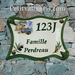PLAQUE DE MAISON MODELE PARCHEMIN DECOR CALANQUE + OLIVES