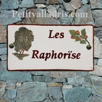 CERAMIC HOUSE PLAQUE FAIENCE ENAMEL WITH NUT TREE PAINTING