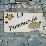 CERAMIC HOUSE PLAQUE FAIENCE ENAMEL WITH APPLE TREE PAINTING