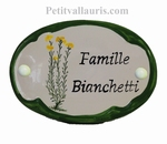 CERAMIC OVAL DOOR PLAQUE WITH CYST DECOR WITH GREEN BORDER