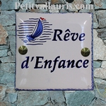 HOUSE PLAQUE TILE MODEL BOAT PAINTING AND BLUE BORDER