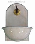 FAIENCE WALL FOUNTAIN HAND WASHING WHITE COLOR GREY COLOR