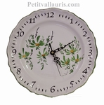 ROUND FAIENCE WALL CLOCK WITH GREEN FLOWERS DECOR