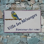 CERAMIC CUSTOMIZED HOUSE PLAQUE MODEL BLUE HOOPOE PAINT