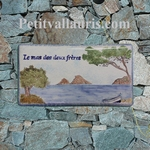 HOUSE PLAQUE RECTANGLE MODEL PROVENCE ISLANDS AND FISHBOAT