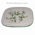 CERAMIC BELOW DISH WITH GREEN FLOWERS DECORATION